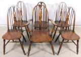 Set of Six Elm Seated Stickback Windsor Style Kitchen Dining Chairs